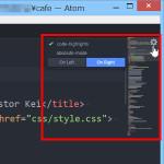 Atomテキストエディタのminimapパッケージに表示される歯車アイコンで設定できる内容
